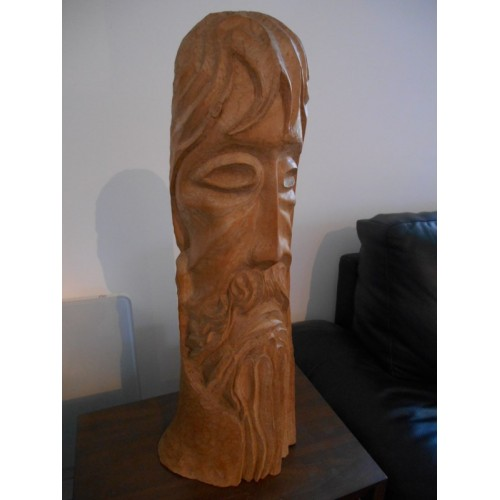 Tete d'Homme Sculptée en bois