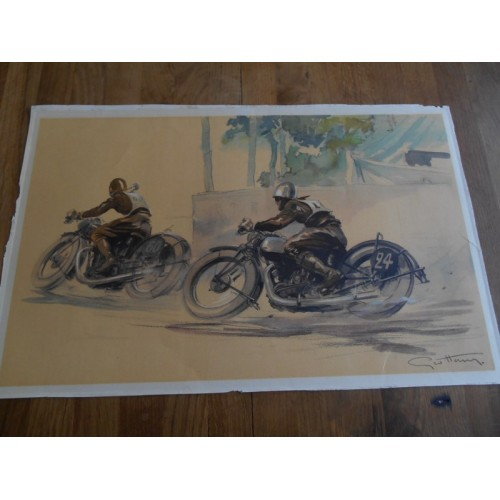 "Litho Géo Ham ""2 Motards en Course"""
