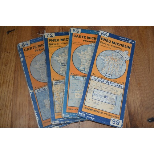 4 cartes Michelin Ancienne 1928-1936