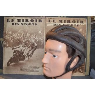 Ancien casque en cuir pour Vélo Ancien